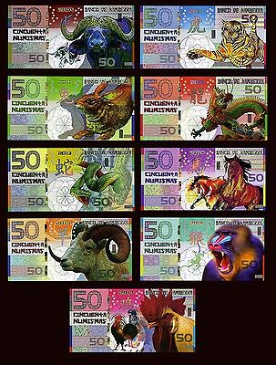 SET Kamberra POLYMER China Lunar 9 notes-Tiger Dragon Snake Horse Monkey +4 more