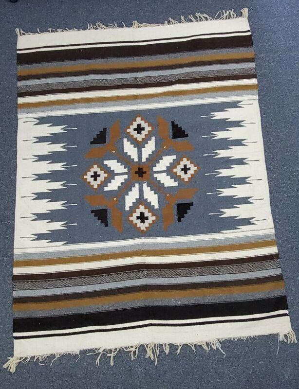 "Southwest Aztec Blanket Rug Throw Gray Beige Cotton Weave Wall 72"" x 55"" Horse?"
