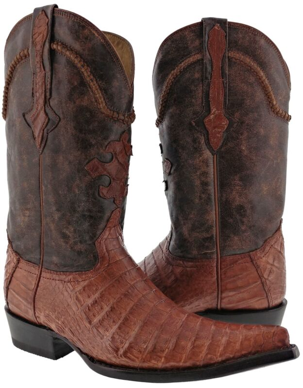 Mens, Cognac, Brown, Smooth, Real, Crocodile, Belly, Skin, Leather, Cowboy, Boots, 3X, Toe