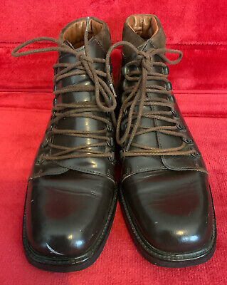 Brown Leather 90's Vintage Gucci US6.5 Women's Lace-up Ankle Boots