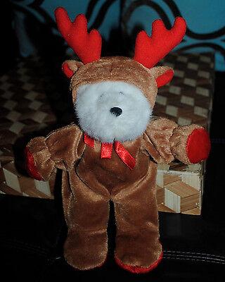 White Teddy Bear in Reindeer Costume Stuffed Plush G.A.C. Rare CUTE 10