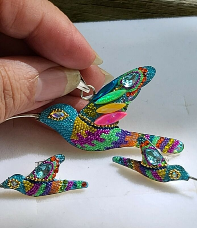 Blue Fire Opal Crystals Pendant Sterling Silver Hummingbird Charm Earrings Set
