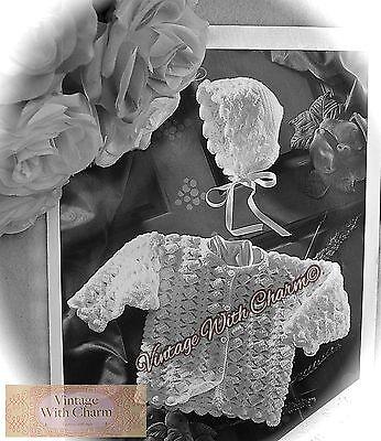 (Vintage Crochet Pattern Baby's 'Special' Matinee Jacket & Bonnet FREE UK P&P!!!)