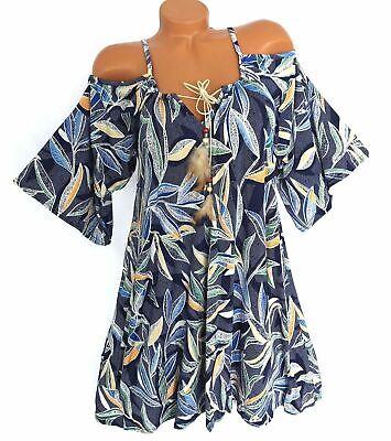 Tunika Kleid Sommerkleid Freizeit Strandkleid off Shoulder Schwingend 38 40 42