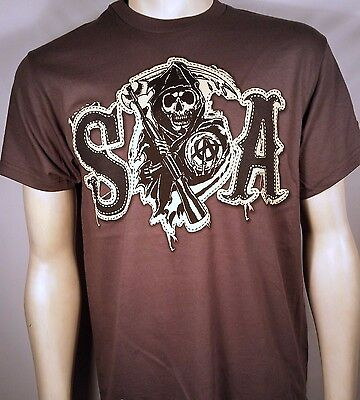 100% Baumwolle Twill Shirt (Sons Of Anarchy Soa Tackle Twill Kunst- Patch Samcro Reaper Biker T-Shirt S-3XL)