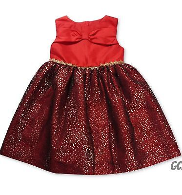 New Penelope Mack Little Girls Sparkle Bow Front Red Christmas Dress size 5 & 6
