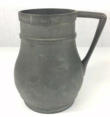 Unusual Antique Pewter Jug With Christopher Dresser Style Handle 18cm In Height