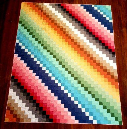 "NEW~Rainbow Twin quilt-65"" x 80"" Riley Blake Fabrics Pieced Handmade 40 colors!"