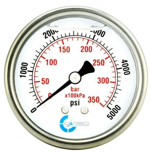 "2-1/2"" Pressure Gauge, ALL STAINLESS STEEL, Liquid Filled, Back Mnt, 5000 Psi"