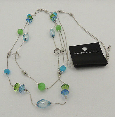 'New York & Company' Blue & Green Glass  Necklace. New with tags. Free (Free Eyeglasses Nyc)