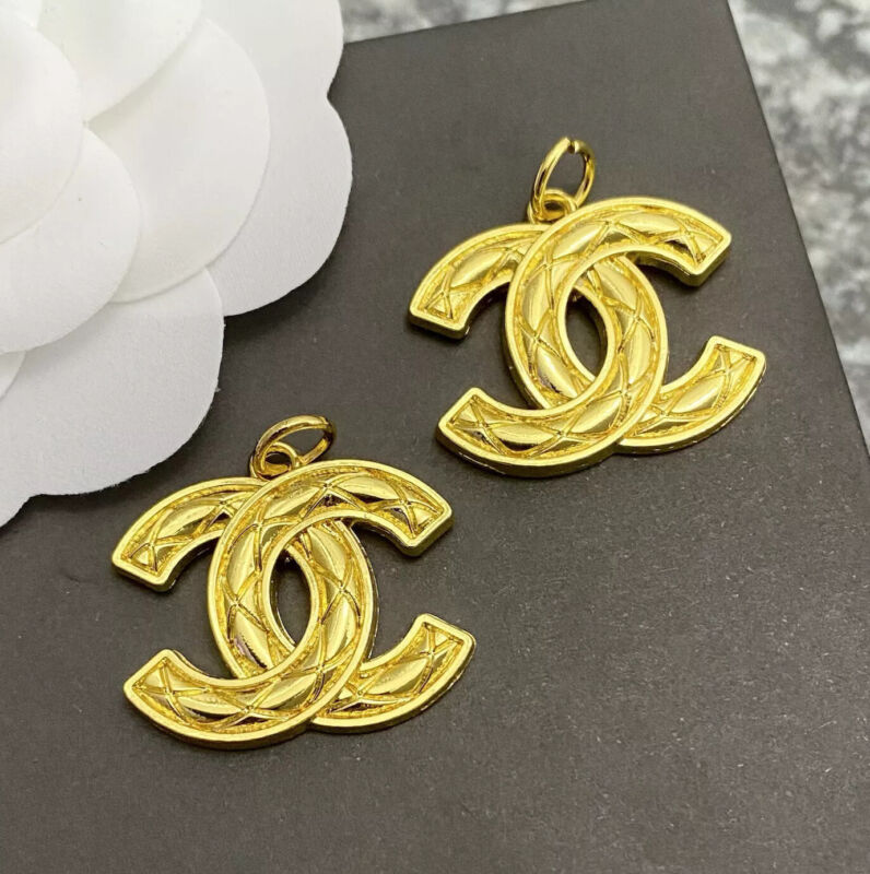 Set Of 2 Large Stamped CHANEL Vintage Yellow Gold Metal Zipper Pull 25mm