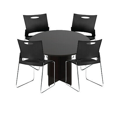 Gof 48 Round Table Set With 4 Black Chairs Espresso 5-piece Table Set