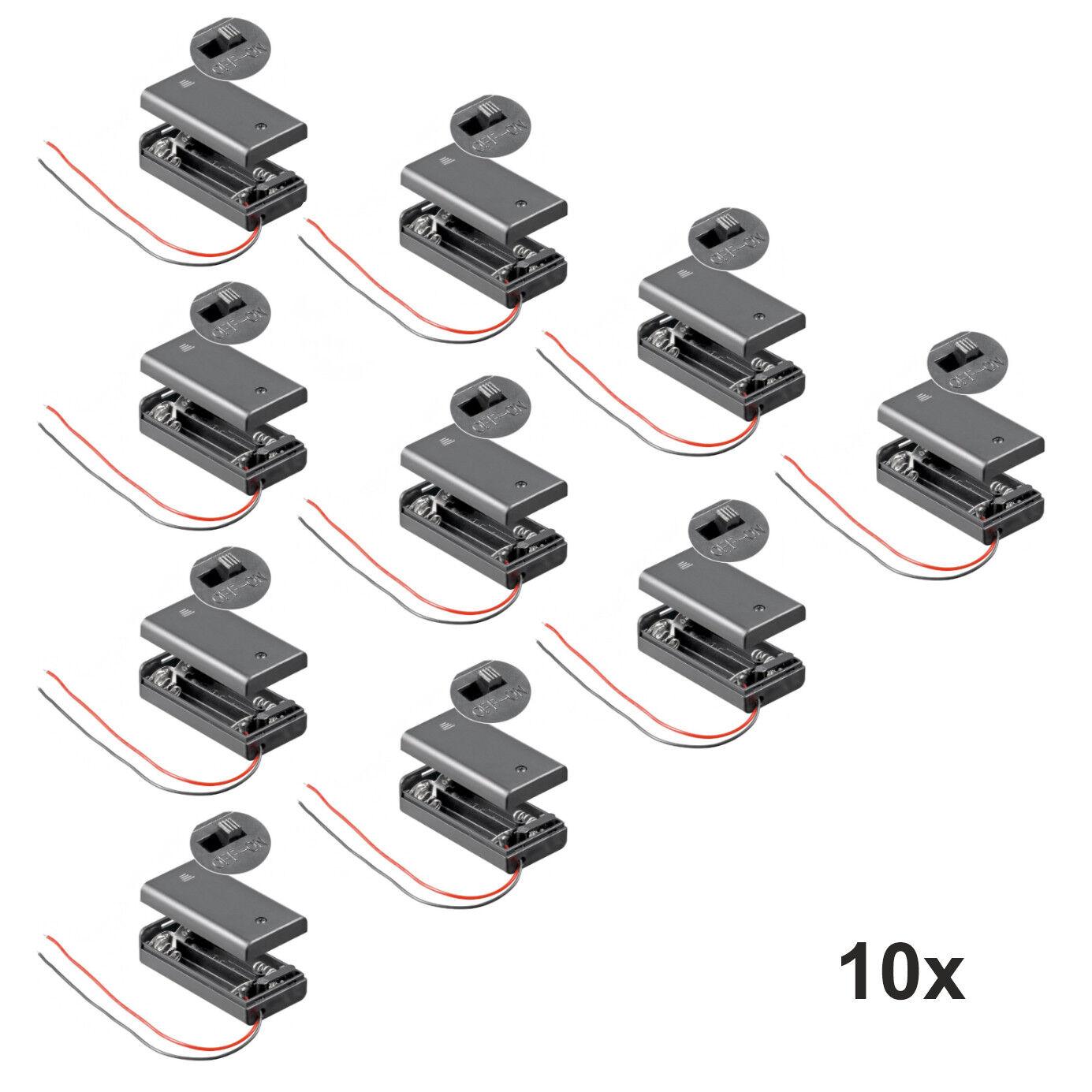 10x Batteriehalter für 2x Mignon AA Akkuhalter Batteriefach mit Schalter Ein Aus