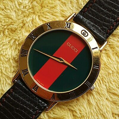 Gucci 3000M 18k GP Men's/Women's Watch with Red and Green Dial (NR586)