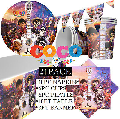COCO BIRTHDAY PARTY SUPPLIES TABLE COVER BANNER CUPS PLATES NAPKINS BALLOON