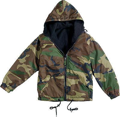Woodland Camouflage Reversible Fleece Lined Jacket Military Hooded Nylon Coat
