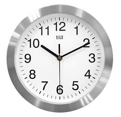 HITO Silent Non-ticking Wall Clock- Aluminum Frame Glass Cover, 10 inches