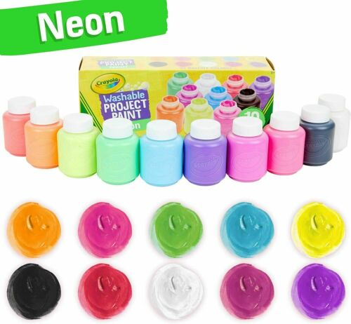 Crayola Washable Kids Paint Set, 2oz Bottles10 Count Assorted Neon KIDS CRAFT