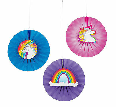 6 Unicorn Hanging Fans FAIRYTALE Magical Kid's Birthday Party Decorations