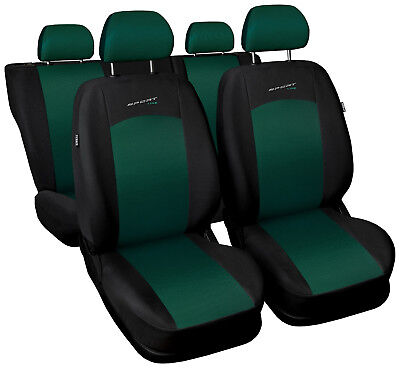 Car seat covers fit Mitsubishi Lancer - full set green/black sport style