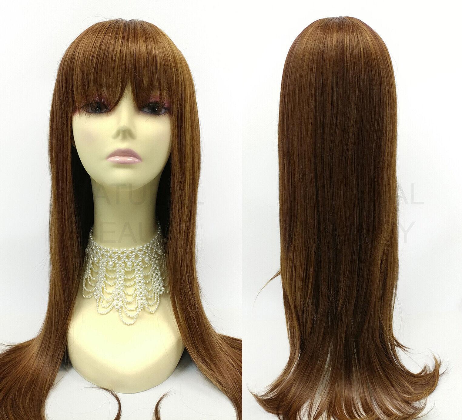 Heat Resistant Long Straight Wig Full Bangs Strawberry Blonde Auburn 26  - $49.99