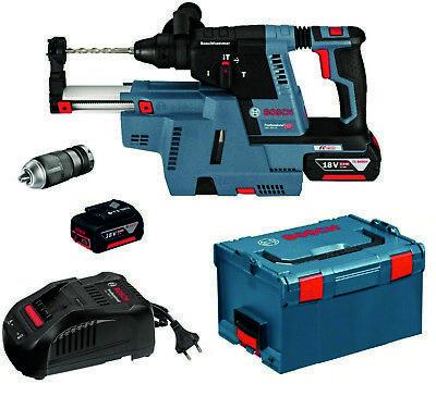 Akku-Bohrhammer Bosch GBH 18V-26 F in L-Boxx 2 x 6,0 Ah mit Absaugung GDE 18V-16