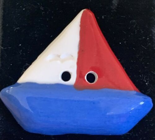 Painted Ceramic Sailboat Realistic Button
