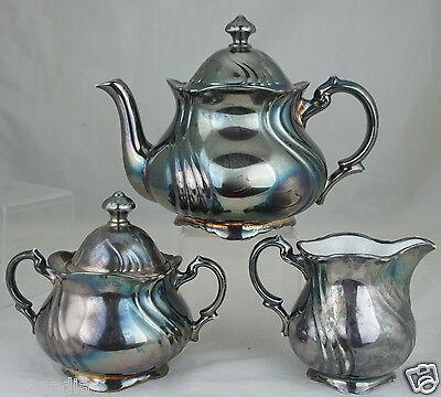 ANTIQUE SILVER OVER PORCELAIN TEA/COFFEE SET,POT,CREAMER,SUGAR,BAVARIA