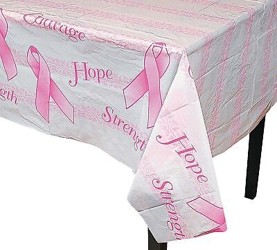 (1) Breast Cancer Awareness Pink Ribbon Cure Plastic Tablecloth 54