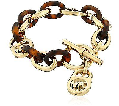 NEW AUTHENTIC MICHAEL KORS GOLD TORTOISE PADLOCK MK LOCK BRACELET MKJ1675710