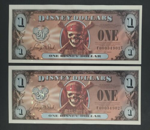 Series 2007 20 Years of Disney Dollars $1 Pirates of the Caribbean 2 Consecutive
