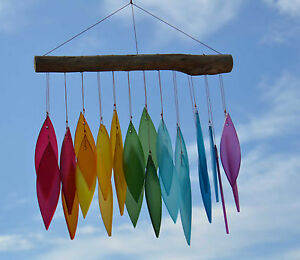 Rainbow Frosted Glass Leaf Wind Chime Handmade in Bali Fair Trade