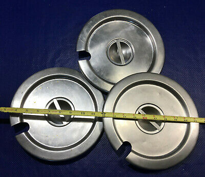 Lot 3 Stainless Steel Soup Warmer Pot Cover Lids 9.5 Pan Steam Table Round