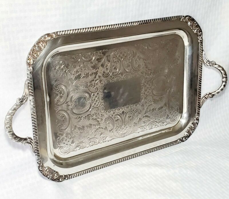 Vtg Silver Plated Tray Rectangular Handles Silverplate Rustic L 17 in x 12 in