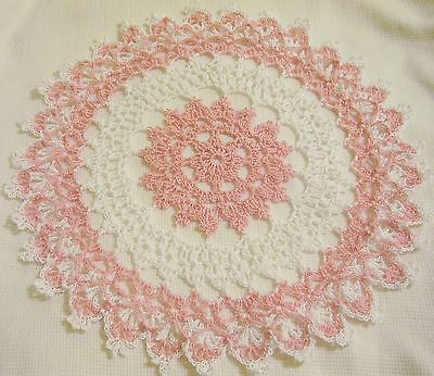 pink lace crocheted doily by Aeshagirl