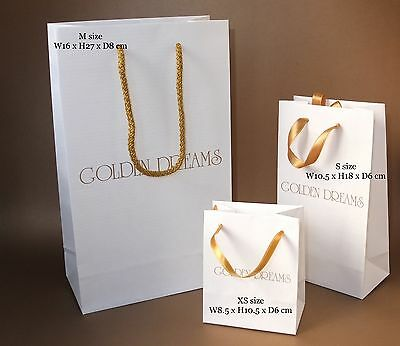 100 Custom printed / personalised Medium paper bags rope handles + one colour