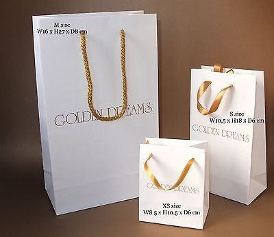 100 Custom printed / personalised Medium paper bags rope handles one colour