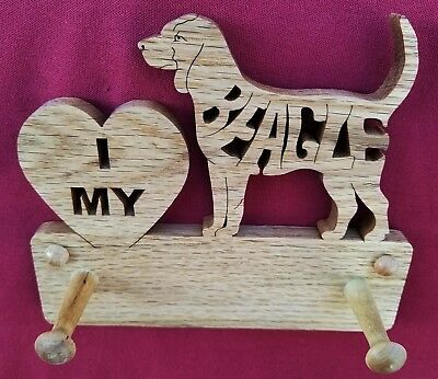 BEAGLE, Dog Leash Hanger, I LOVE MY, DOG LOVER, Hand Cut on a Scroll Saw