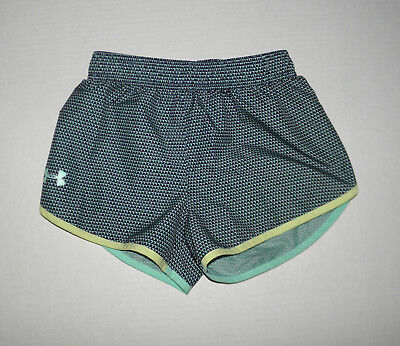 UNDER ARMOUR GREEN PRINT LOGO TRAINING RUNNING SPORTS SHORTS YOUTH SMALL