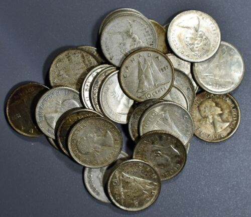 1920-1966 CANADIAN DIMES 10c LOT OF 30  80% SILVER COINS FV $3.00   B1239