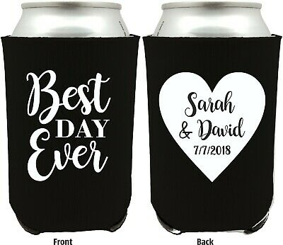 Personalized Wedding Koozies, Custom Wedding Favors, Can Coolers, Best Day Ever - Personalized Koozie
