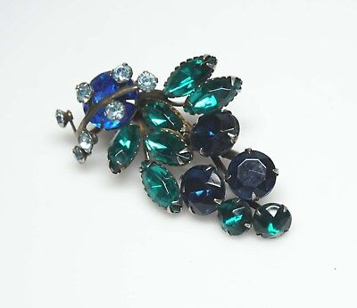 Vintage Emerald Green- Sapphire Blue RHINESTONE Floral Brooch/Pin- VIBRANT!! Emerald Floral Brooch