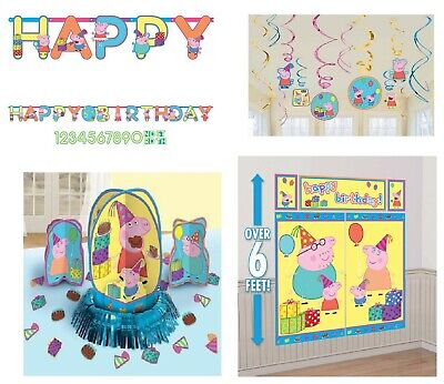 Peppa Pig Birthday Pack Combo Decorations Wall Banner Swirls Props (Peppa Pig Banner)