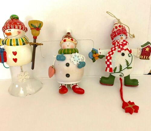 Vintage Snowman Christmas Tree Ornament -  Set of 3