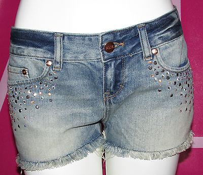 VICTORIA'S SECRET Pink Cheeky Cut Off Studs Denim Mini Shorts Sz 4  Blue NWT