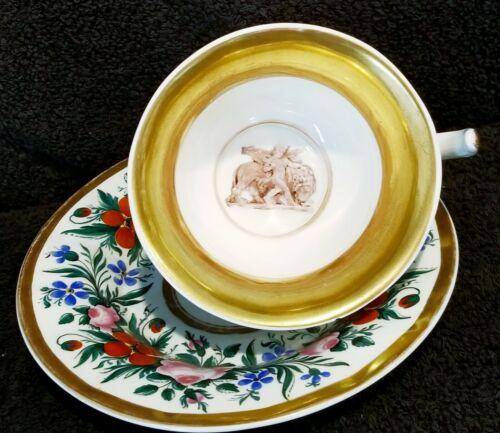 RARE! ANTIQUE KPM CUP & SAUCER SET WITH FIGURAL NYMPH RIDING LION FAB!!