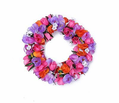 Hawaiian Lei Party Luau Headband Haku Elastic Flower Tuberose Purple PInk