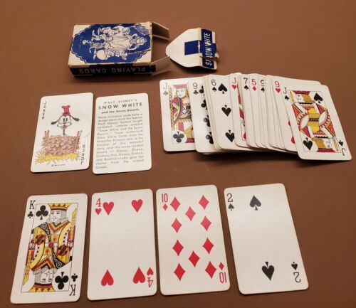 Vintage Disney Snow White and the Seven Dwarfs Playing Cards, Complete Deck