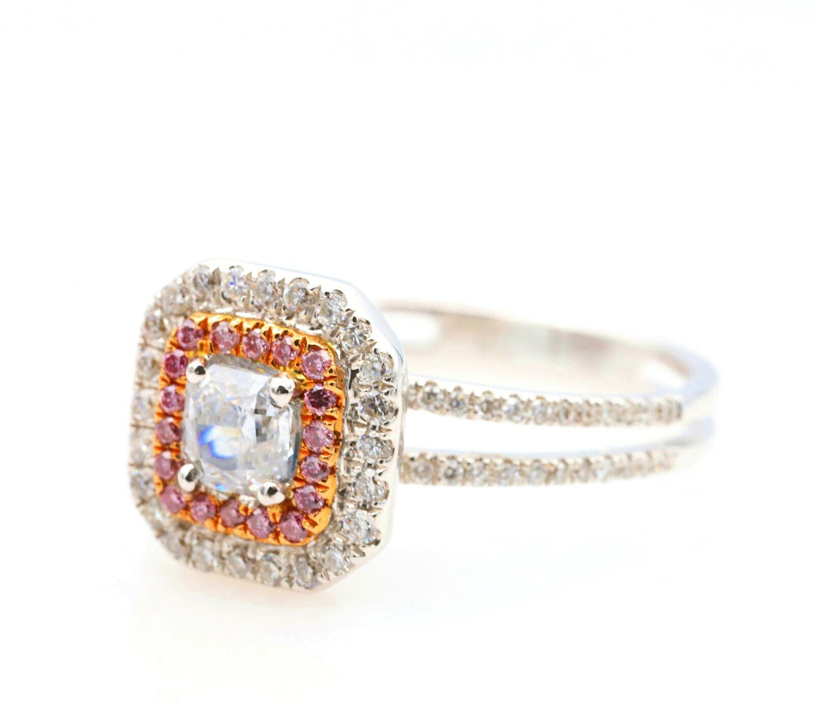 0.65ct Light Blue & Argyle 6PP Intense Pink Diamond Engagement Ring GIA 18K SI2 2