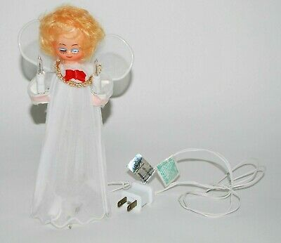"Angel Christmas Tree Topper Lights Up Small 8"" Tall White Plug In"